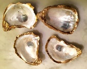 Custom Order 5 -15 Gold Leaf Oyster Shell Ring Holder/Wedding Party Gift/Oyster Shell Dish