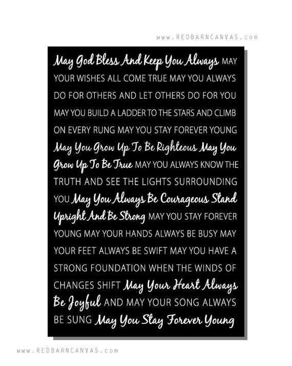 Forever Young Song Lyrics on canvas Bob Dylan anniversary