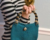Crochet Teal Clutch Handbag with Beaded Handles
