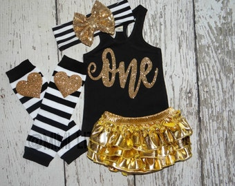 Girl First Birthday outfit- Black Tank top with gold sparkle- 1st Birthday Outfit- Baby Girl Clothing-Party outfit