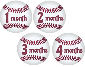 Baby Month Stickers Monthly Stickers Baseball Milestone Stickers Baby Shower Gift