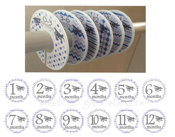 6 Baby Closet Dividers 12 Month Stickers Vintage Biplanes Bi-planes Planes Airplanes Blue Gray Clothes Dividers Baby Shower Gift Set