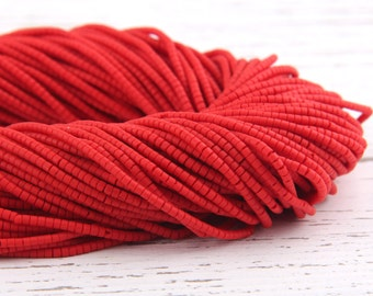 Red, Heishi Afghan Stone Beads, Handcut, 1 strand - 13 inches, 2-2,5 mm // BD-015
