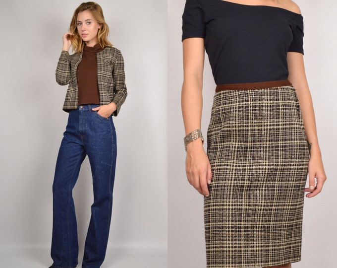 60's Plaid 3-Piece Matching Skirt Set Top Vintage Jacket