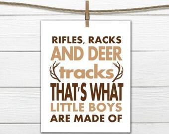 Rustic Nursery Art -  8x10 Instant Download Rifles Racks and Deer Tracks