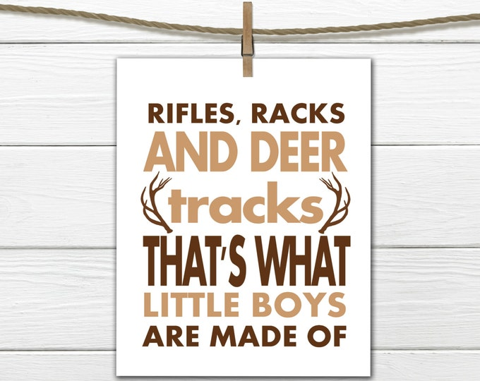 Rustic Nursery Art -  8x10 Instant Download Rifles Racks and Deer Tracks