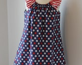 Size 2 and 4 Ready to Ship, 4th of July Peasant Dress, toddler girl