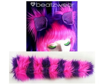 Cheshire Cat ears and tail (choose your length) Cheshire Cat set Halloween costume