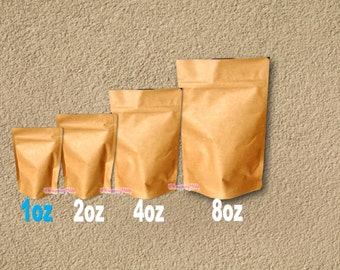 50 - 1 oz. Kraft Stand Up Pouch Bags, Food Safe Resealable Bags, Food Packaging, Tea Paper Bags, Coffee Favor Bags, Foil Product Packaging
