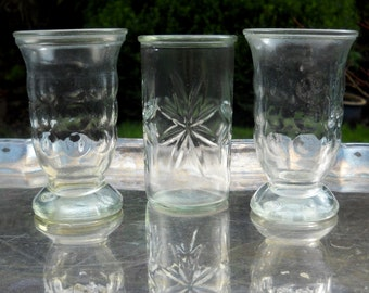 Vintage Jelly Jar Glasses, Set of Three Juice Glasses, Starburst Pattern, Dot Pattern