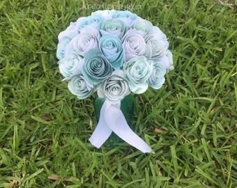 Mint Paper Flower Rosette Bouquet //Paper Bridal Bouquet // Kusudama Origami Bouquet/ Wedding/ Paper Rosettes