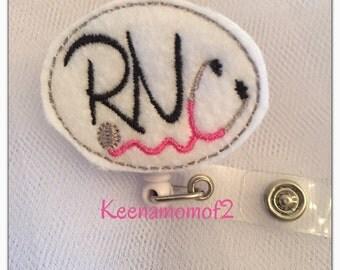Unique Retractable ID Badge Holder- RN Stethoscope -Name Badge Holder- Cute Badge Reel- Felt Badge Reel- Scrub Tech