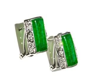 Emerald Green Glass Cabochon & Rhinestone Omega Back Earrings Silver tone