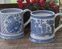 James Sadler Coffee Cups Set of 2, Afternoon Tea Blue and White Coffee Mugs, Tea Cups Cottage Decor Vintage Bridesmaid Gift Tea Part
