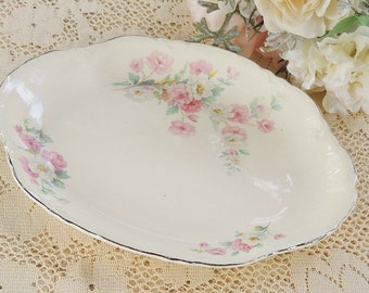 Homer Laughlin Virginia Rose Serving Platter, Cottage Style Farmhouse China, Ca. 1935, K35 N5