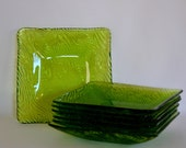 Sweden SKRUF Set 7 Wood Grain / Driftwood Square Green Glass Salad  / Dessert Plates by Bengt Edenfalk