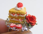 Food Jewelry Strawberry Shortcake Ring, Scented or Unscented, Cake Slice Ring, Miniature Food Jewelry, Mini Food Ring Miniature Cake Jewelry