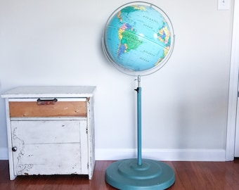 Rare Vintage Mid Century Nystrom Sculptural Relief Floor Stand on Casters World Globe