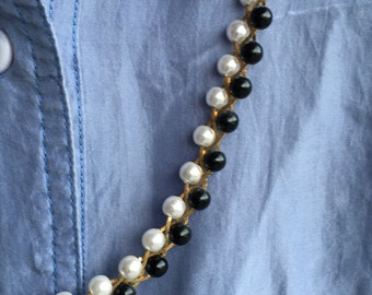 Handmade pearl & black beaded necklace free domestic shipping