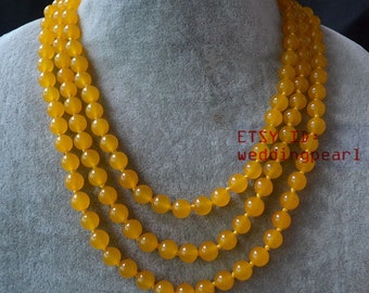 long yellow jade necklace, 55 inch 8mm hand knotted jade necklace, yellow bead necklace, lady necklace, Christmas present,bridesmaid jewelry