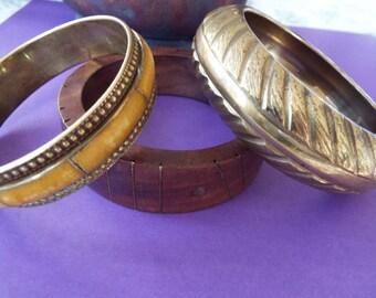 set of 3 bangle bracelets wood, brass, stone  inlaid southwestern