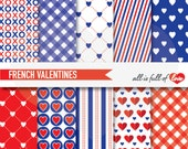 RED Blue VALENTINES Patterns Digital Scrapbooking Papers Valentines Paper french valentines navy blue red hearts love xoxo gingham pattern 2