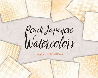 Wedding Paper Kit Peach Digital Paper Pack Japan Graphics Watercolor Digital Background Bridal Shower Patterns Japanese Stationery