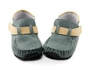 Dark green Leather Outdoor Moccasins,leather lining,Vibram sole,velcro fastening,support barefoot walking,sizes EU 18 to 31 - US 3.5 to 12.5