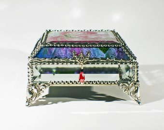 Flamingo Carved Glass Jewelry Box -  Faberge Style
