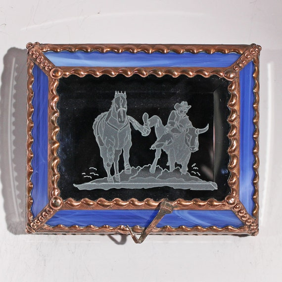 Rodeo, Steer wrestler,  treasure box, Bovine, Cowboy, Western, Souvenir Box, Memorabilia Case, Stained Glass