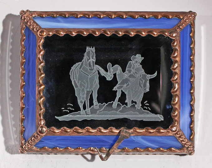 Rodeo, Steer wrestler,  treasure box, Bovine, Cowboy, Western, Souvenir Box, Memorabilia Case, Stained Glass