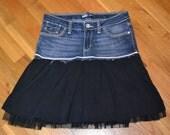 Upcycled girls denim....black skirt with netting....Levi...size 12....