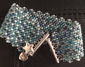 Aqua peyote bracelet with charms