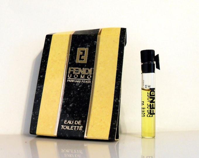 Vintage 1980s Fendi Uomo by Fendi 0.034 oz Eau de Toilette Sample Vial on Card COLOGNE