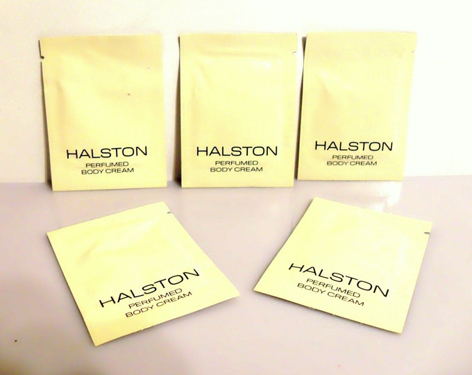 Lot of Five Vintage 1980s Halston by Halston 0.07 oz Perfumed Body Cream Sample Packets PERFUME