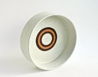 Mid Century Italian Modern Signed Bruno Gambone Large Studio Art Pottery Bowl With Bullseye / Bitossi Fantoni Fanciullacci Italy Ceramic