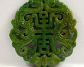 Antique Style Large Double Carved Green Jade Dragon Pendant Bat Blessing Amulet Talisman Jade Pendant  for your handwork