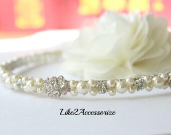 Swarovski Pearl Headband Something Blue Bridal Tiara Headband Wedding Jewelry Bridal Head Piece Rhinestones Bridesmaid Wedding Headband