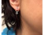Geometric ear jacket set with matching post earrings