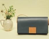 100 % handmade, handstitched   night blue leatger bag,orange brown leather  bag, by GENATI.