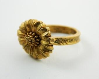 Gold Sunflower Ring - VRE011