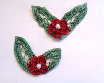 Fleurette with Leaves Applique Pack of 2, For Dolls, Scrapbook, Apparel, Home Decor, Gifts Accessories