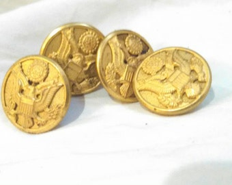 Vintage military coat brass eagle buttons Waterbury buttons free shipping