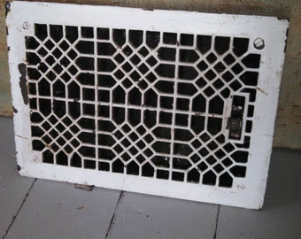Antique heating vent cover cast iron complete with louvers chippy white paint architectural salvage