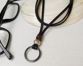 Black Leather Mens Glasses Chain With Hematite Ring, Thai Silver Bead, Eyeglass Loop Lanyard, Eyeglass Holder, Boho Lanyard, Gift For Men