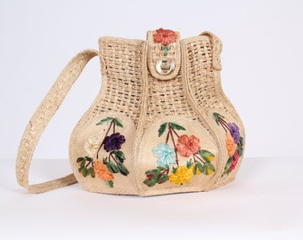 Vintage Uniquely Shaped Raffia Embroidered Bag