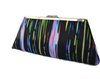 Rainbow evening purse clutch/ Custom made handbag/ Bridal accessory bag/ Bridesmaids gift idea/Summer weddingpurse/ Gift for her