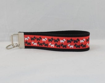 Keychain Wristlet Made With Scottie Dog Inspired Ribbon