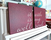 It Is Well With My Soul (cursive text) 24x24 2 piece, Brick Red, Canvas