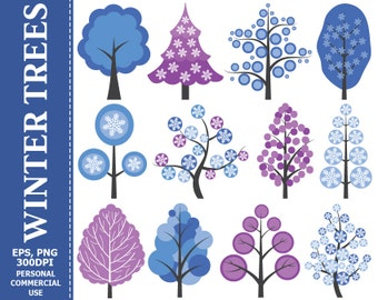 BUY 1 GET 1 FREE - Digital Winter Trees Clip Art - Tree, Snowflakes, Nature, Vector, Branch, Fir Tree Clip Art. Commercial and Personal use